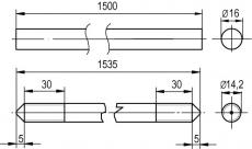 Заземлитель вертикальный 1500 мм, D16 мм NE1202 DKC