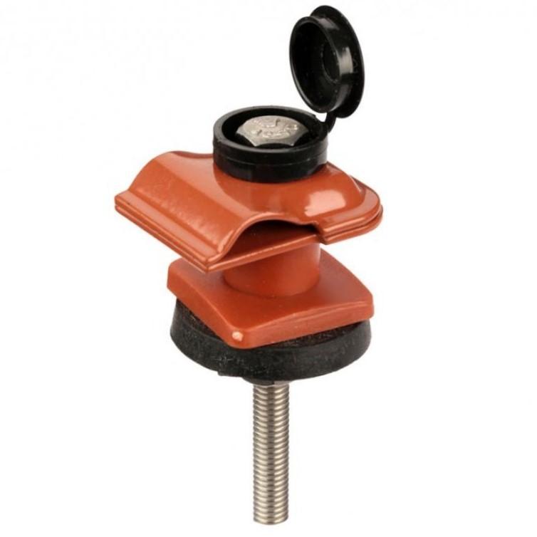 Зажим на крышу покрытую металлическим профилем / профнастилом, для токоотвода, крашенная оцинкованная сталь