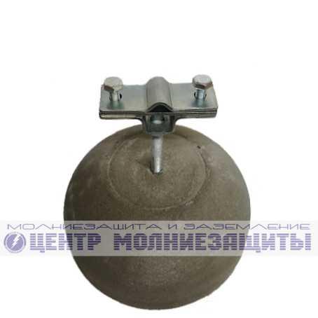 Держатель проводника 8-10 мм и полосы 40 мм бетонный с оцинкованным держателем для горючей кровли