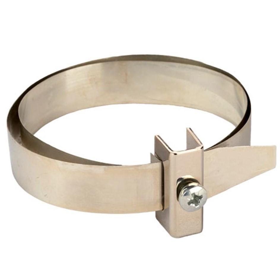 Зажим на водосточную трубу для токоотвода (D50-350; луженная медь + зажим из латуни)